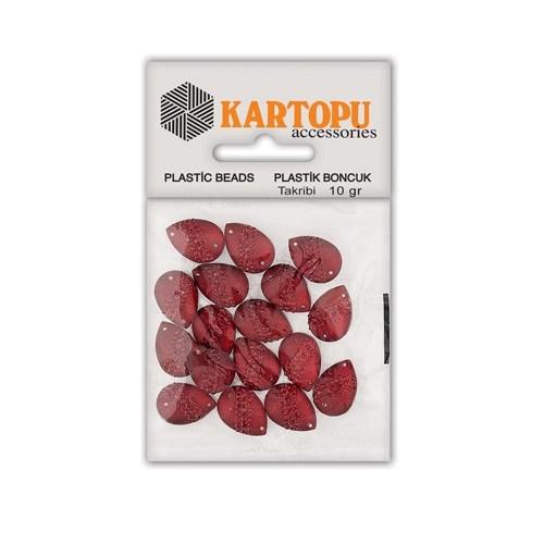 Kartopu Kırmızı Damla Resin Taşı Dikilebilen Plastik Boncuk - Rt3