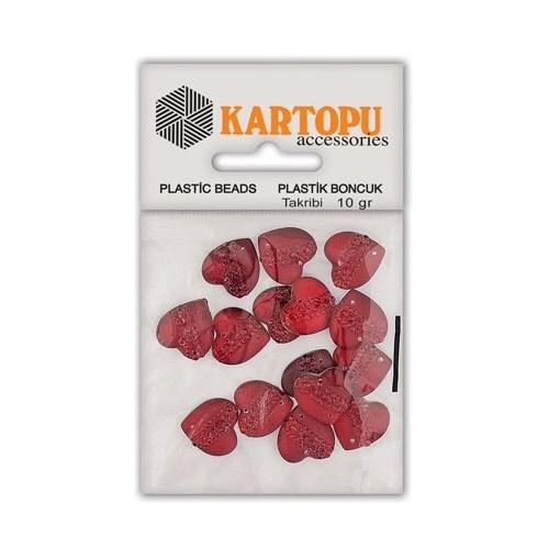 Kartopu Kırmızı Kalp Resin Taşı Dikilebilen Plastik Boncuk - Rt4