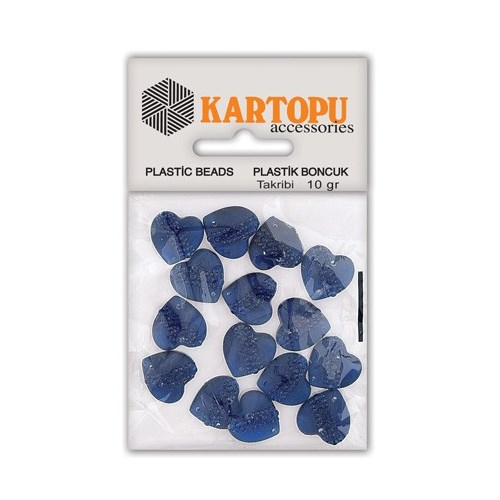 Kartopu Lacivert Kalp Resin Taşı Dikilebilen Plastik Boncuk - Rt4