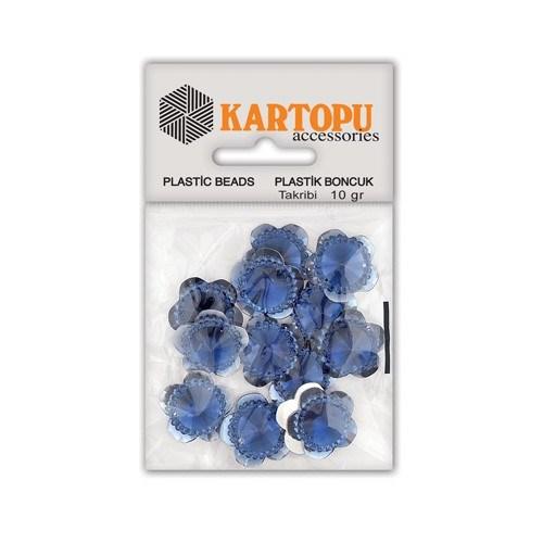 Kartopu Lacivert Çiçek Resin Taşı Dikilebilen Plastik Boncuk - Rt5
