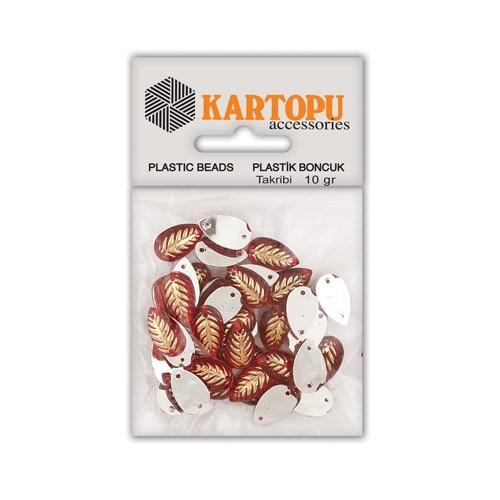 Kartopu Kırmızı Oval Yaprak Plastik Boncuk - Et1
