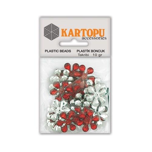 Kartopu Kırmızı Çiçek Süslü Taş - Et5