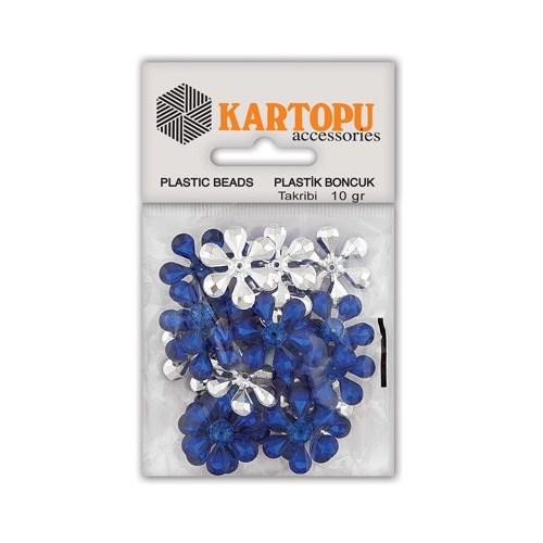 Kartopu Saks Mavi Çiçek Süslü Taş - Et5