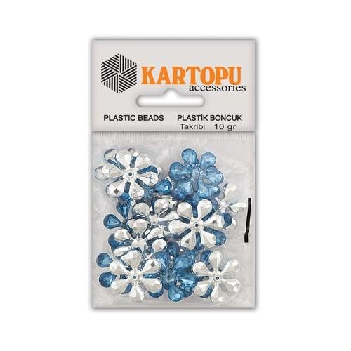 Kartopu Açık Mavi Çiçek Süslü Taş - Et5
