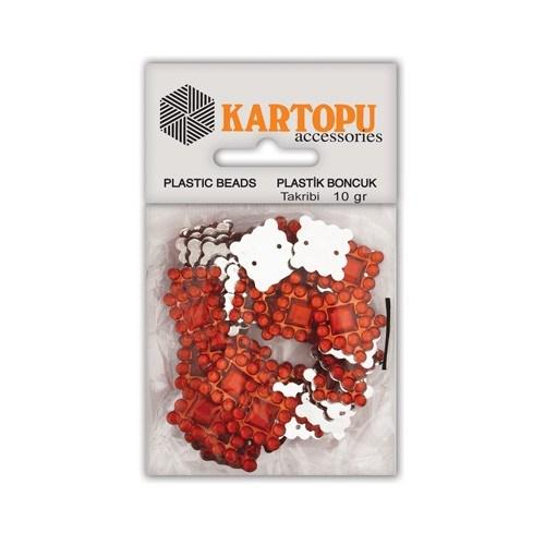 Kartopu Kırmızı Kare Süslü Taş - Et10