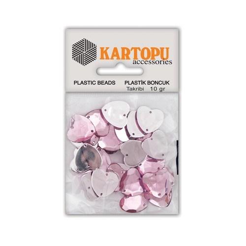 Kartopu Açık Pembe Büyük Kalp Plastik Boncuk - Et