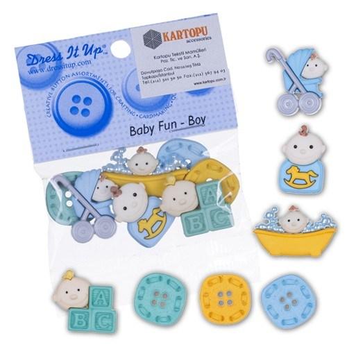 Kartopu Erkek Bebek Konseptli Dekoratif Düğme - 5196