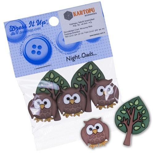 Kartopu Baykuş Ağaç Şeklinde Dekoratif Düğme - 5815