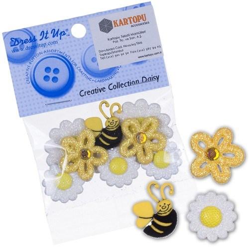 Kartopu Arı Ve Papatyalar Şeklinde Dekoratif Düğme - 166