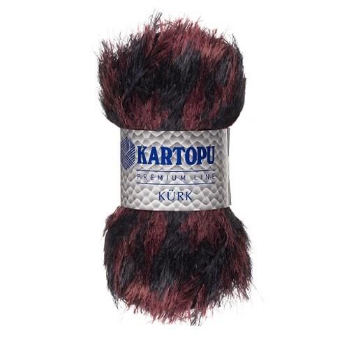 Kartopu Kürk Kahverengi Siyah El Örgü İpi - Kf908