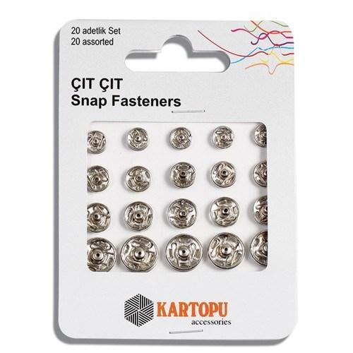 Kartopu Farklı Boylarda 20 Set Gümüş Metal Çıt Çıt - K007.1.0018