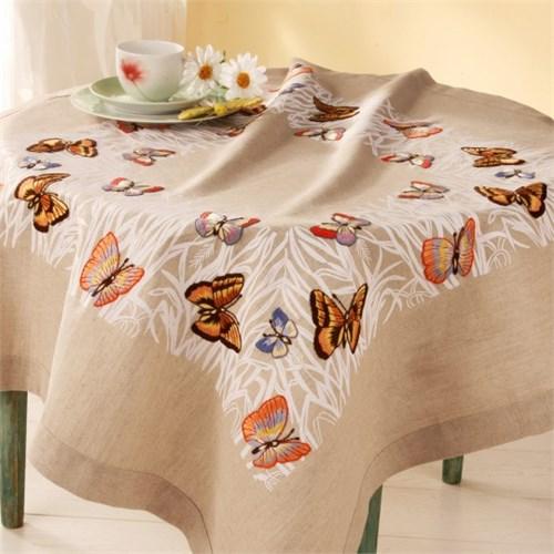 Duftin 80X80 Cm Kelebek Desenli Kare Masa Örtüsü Çin İğnesi Nakış Kiti - 11689-Aa0330