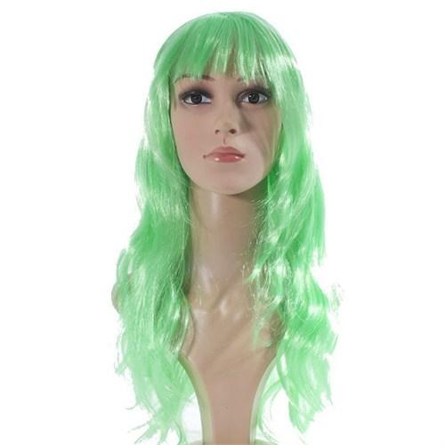 Pandoli Yeşil Renk Uzun Parti Peruğu