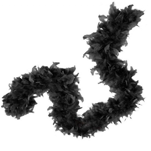 Pandoli 6 Cm Siyah Renk Tüylü Kalın Otriş Boa 2 Metre