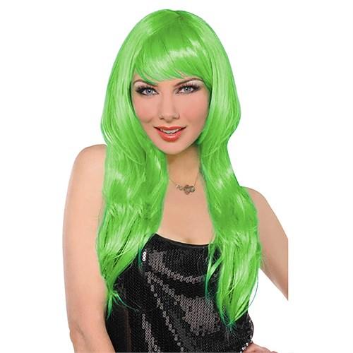 KullanAtMarket Yeşil Uzun Peruk