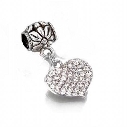 Angemiel Beyaz Kristalli Sarkan Kalp Gümüş Charm İle Kendi Tarzını Yarat