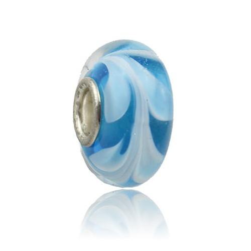 Angemiel Beyaz Mavi Motifli Murano Charm İle Kendi Tarzını Yarat