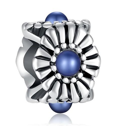 Angemiel Mavi Çiçek Motifli Gümüş Kaplama Charm İle Kendi Tarzını Yarat