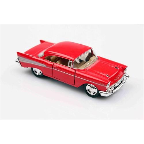 Kırmızı 1957 Chevrolet Bel Air 1/40 Çek Bırak Die-Cast Model Araç