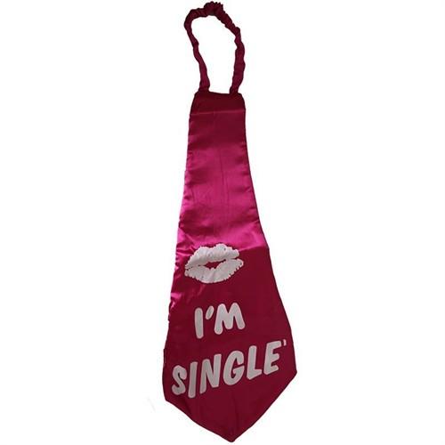 Pandoli I M Single Bekarım Yazılı Mega Boy Kravat Pembe