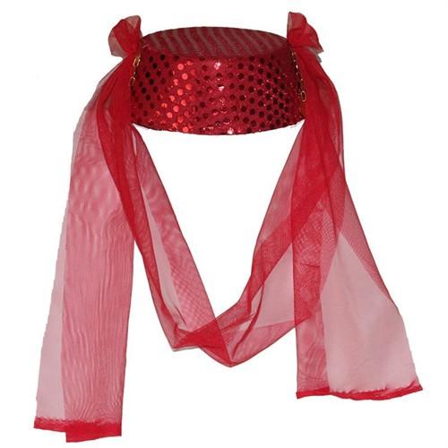 Pandoli Kırmızı Renk Pullu Fes