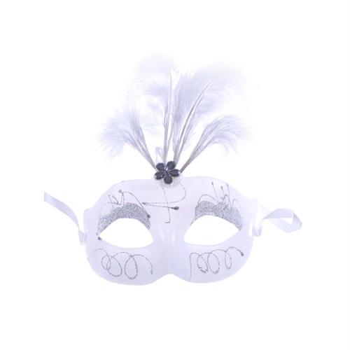 KullanAtMarket Beyaz Tüylü Dantel Balo Maskesi 1 Adet