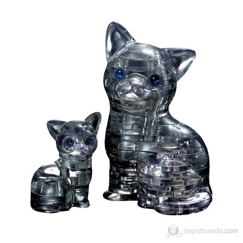 Siyah Kedi ve Yavrusu Crystal Puzzle