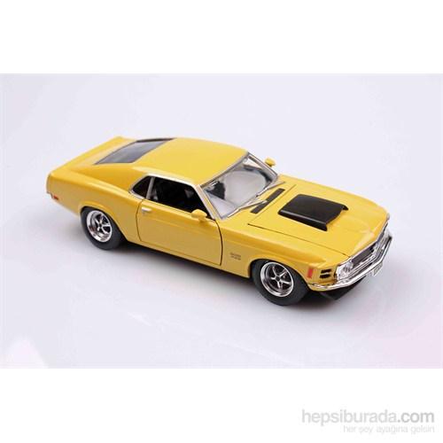 Motomax Sarı 1970 Ford Mustang Boss 429 1/24 Die Cast Model Araç