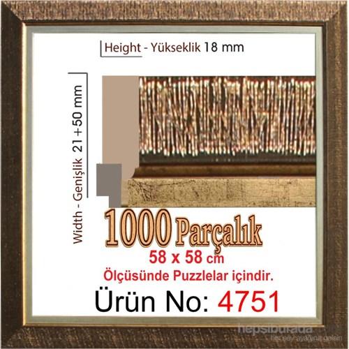 Kahverengi Kare Puzzle Çerçevesi (1000 Parçalık 58X58 Cm) Heidi 4751