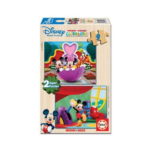 Educa Puzzle Çocuk 2X9 Parça Mickey Mouse Club House