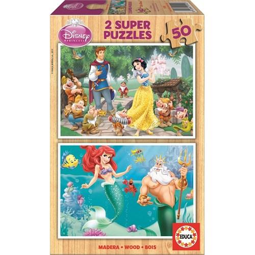 Educa Puzzle Çocuk 2X50 Parça Disney Pamuk Prenses Ve Küçük Denizkızı Ariel