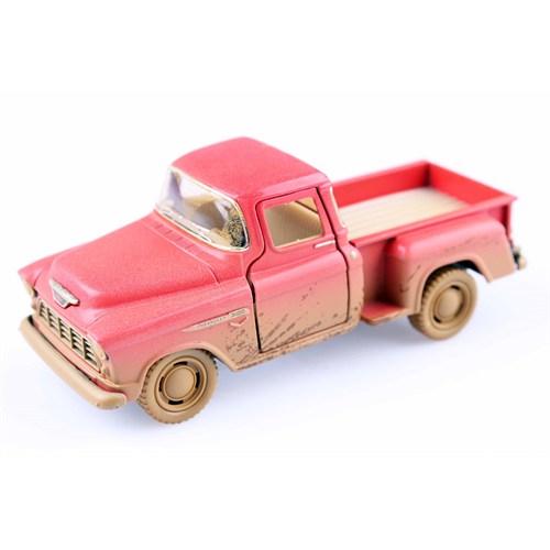 Diecast Off-Road 1955 Chevy Stepside Pick-Up Çek Bırak 1/32 Die Cast Model Araç
