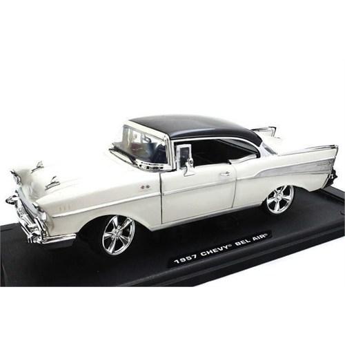 Motormax 1:18 1957 Chevy Bel Air Diecast -Krem Model Araba