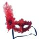 Partistok Balo Maskesi Dantelli Tüylü Kırmızı
