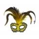 Partistok Tüylü Venedik Parti Maskesi Sarı
