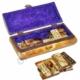 Kayıkcı Pirinç İşlemeli Kemik Domino Takımı - Deve Kemiğinden Üretilmiştir - Özel Kemik Saklama Kutusunda