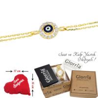 Glorria 14 Ayar Altın Nazar Boncuğu Bileklik - Hediye Seti - Cn0036-Hs