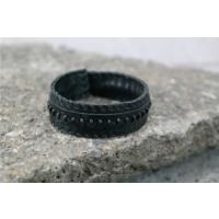 Onka Tasarım Siyah Sırımlı Siyah Deri Bileklik