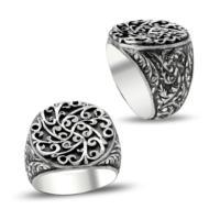Anıyüzük Erzurum El İşi Kalem İşçilikli Gümüş Erkek Yüzüğü