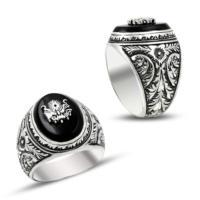 Anıyüzük Erzurum El İşçiliği Osmanlı Armalı Siyah Gümüş Yüzük