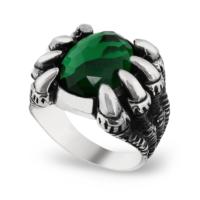 Chavin Yeşil Zirkon Taşlı Pençe Gümüş Erkek Yüzük cs73