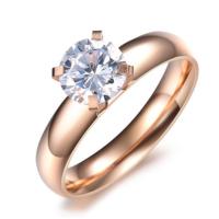 Chavin Tek Taş Altın Kaplama Çelik Bayan Yüzük by09