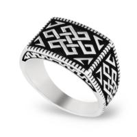 Chavin Geometrik Desen Gümüş Erkek Yüzük cs68