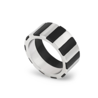 Chavin Siyah Gri ipc Kaplama Çelik Yüzük cr90