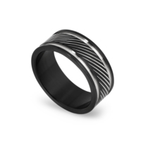 Chavin Siyah Çizgi Desen Çelik Yüzük cr89