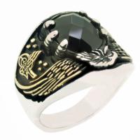 Chavin Selçuklu Kartalı Siyah Taşlı Gümüş Erkek Yüzük cm64