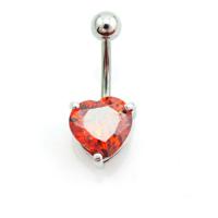 Chavin Kırmızı Kalp Taşlı Göbek Piercing da45