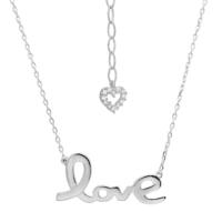 Chavin Love Yazılı Gümüş Bayan Kolye ba72