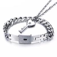 Chavin Anahtarlı Kelepçe Çelik Kolye ve Bileklik Set de70
