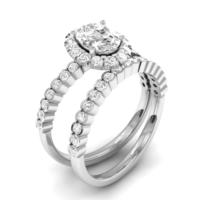 Chavin 3 carat Beyaz CZ Taşlı 2 'li Gümüş Yüzük cs22
